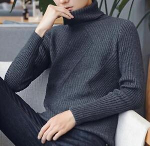 à roulé Slim à Casual Hauts Pull col tricoté mens pull Fit longues manches wXZTOPkui