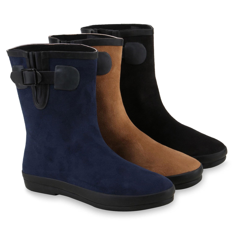 Damen Schlupfstiefel Schnallen Stiefeletten Veloursoptik 812579 Schuhe