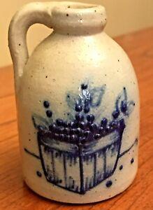 Miniature-Salt-Glaze-Pottery-Blueberry-Basket-Small-Mouth-Jug-2-5-034-H-UNMARKED