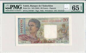 PM0119-Tahiti-1963-20-Francs-PMG-UNC-65-EPQ-21c-Papeete-combine-shipping
