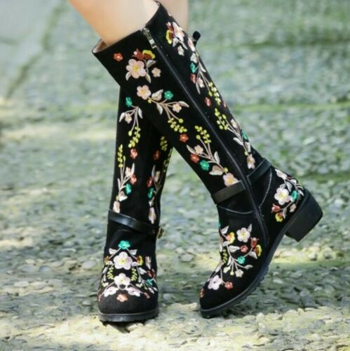 Details about  /Women Embroidered Flower Side Zipper Ethnic Suede Leather Knee High Boots Casual