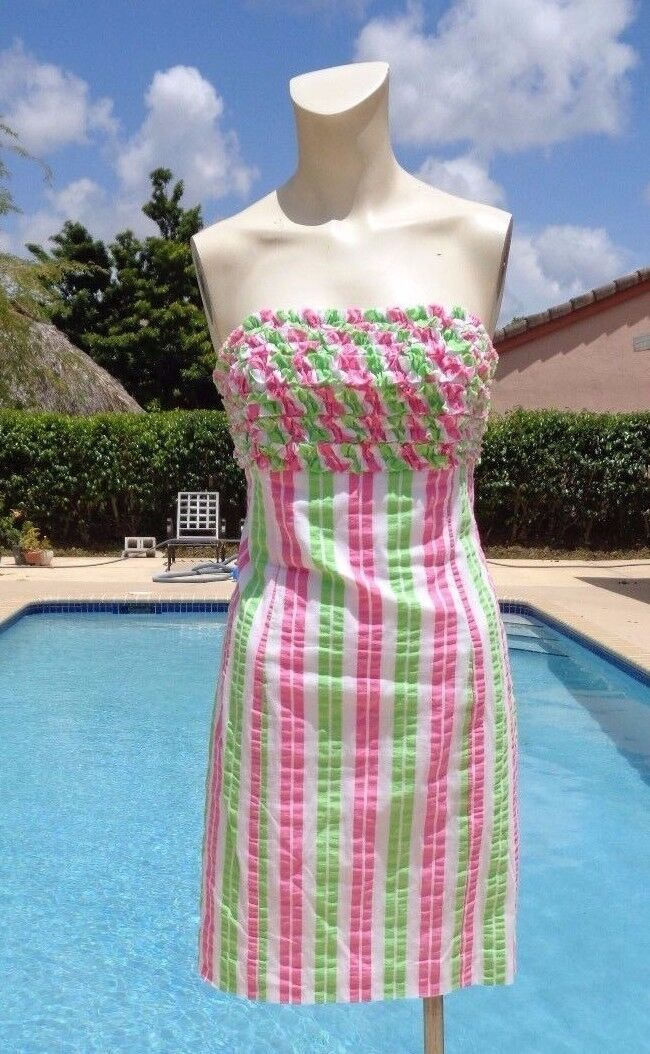 LILLY PULITZER RUFFLES COTTON STRIPES STRAPLESS CASUAL SUMMER DRESS Sz 10