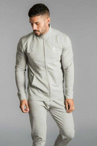 Gimnasio King Hombre Nuevo Cremallera a través de Diseñador de Moda Chándal Parte superior a rayas con cuello