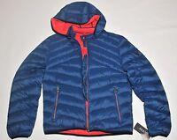 Guess Men's Down Blue Jacket Lightweight Puffer Hooded Winter Coat Large