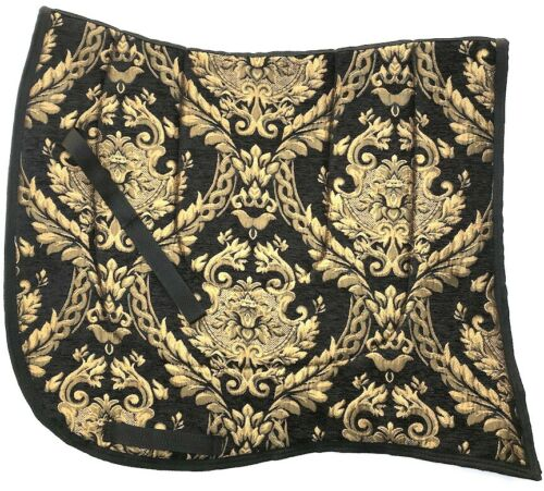 """SWALLOW TAIL  /""""FORTUNA/""""  BLACK GOLD BAROQUE DRESSAGE SADDLE PAD"""