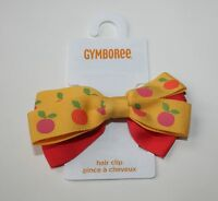 Gymboree Peach & Yellow Bow Barrette Clip Hair Accessory Preppy Peach