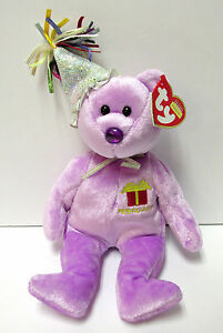 Ty Beanie Baby February w/Party Hat Birthday Bear Collection PRISTINE New Mint