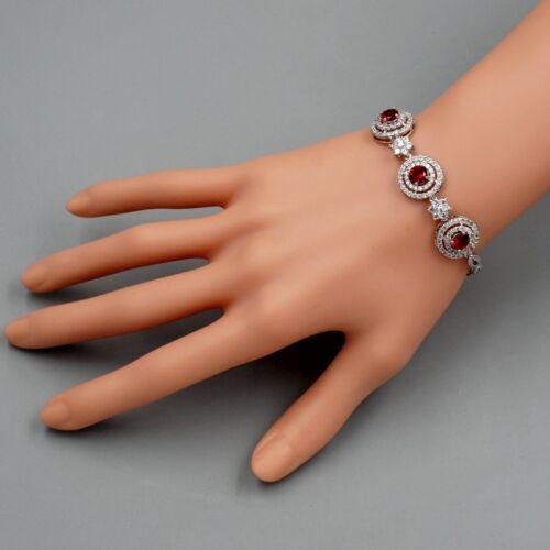 Weiss Gold Vergoldete Rubin Cubic Zirkonia Halskette Armband Ohrringe