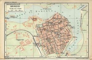 Brindisi Cartina Geografica.Brindisi Mappa Touring Club 1926 Carta Geografica Ebay