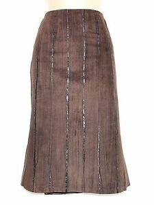 Women-039-s-Vintage-BALIZZA-High-Waist-Brown-100-Leather-Suede-Skirt-UK10-UK12-W30-034