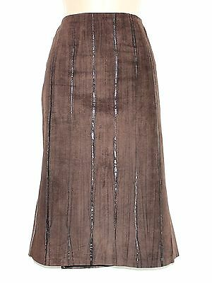 Women's Vintage Balizza Matita Marrone 100% Vera Pelle Gonna W30 L26/uk10 Uk12-mostra Il Titolo Originale Carattere Aromatico E Gusto Gradevole