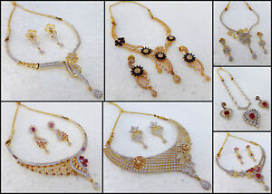 709e4a834f341 Details about Ethnic Indian American AD Ruby Jewelry Golden Wedding  Necklace Earrings Set srj