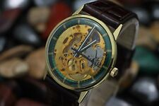 Vintage VULCAIN 17 Jewel Skeleton Case Gold Plaque 35mm Men's Dress Watch w/ Box