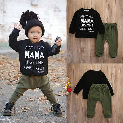 2pcs Toddler Baby Boys Kids Shirt Tops + Long Pants Clothes Outfits Casual Set