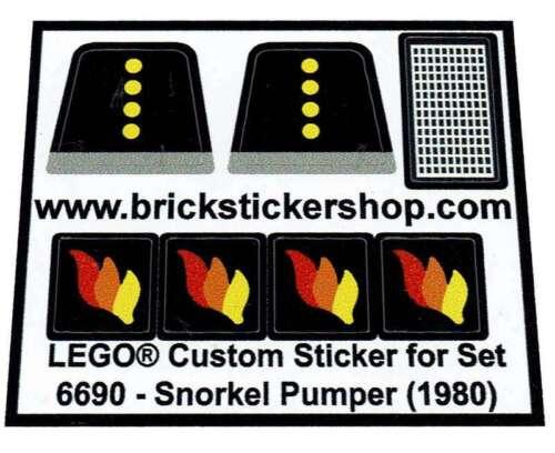 Snorkel Pumper 1980 Precut Custom Replacement Stickers voor Lego Set 6690