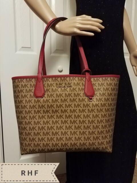 f653a2eaaca8 Michael Kors Candy Large Reversible Tote Brown Khaki Signature ...