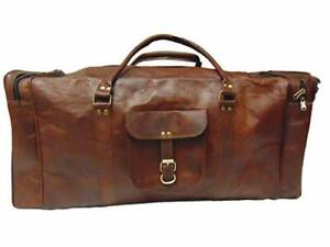 Large-Brown-Leather-Goathide-Carry-On-Duffle-Nice-Weekend-Luggage-Travel-Bag-USA