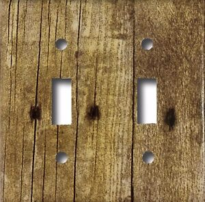 Details About Rustic Barn Wood Design Look Double Toggle Light Switch Cover Wall Plate