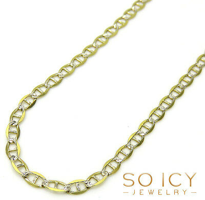 "24"" Inch 2mm 2.30 Grams 10k Yellow Gold Diamond Cut Mariner Chain Necklace Mens"