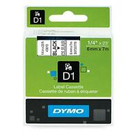 Dymo Standard D1 Self-adhesive Polyester Tape For Label Makers, 1/4-inch, Black on sale