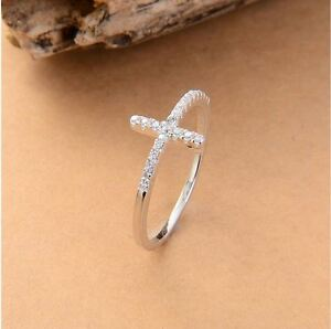 925 Sterling Silver Rose Gold Plated Sideways Cross Ring Size 5,6,7,8,9
