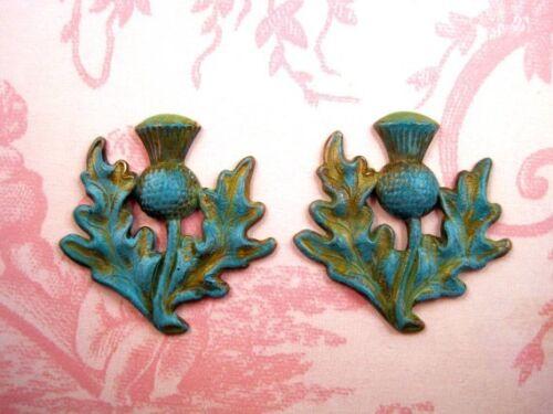 Verdigris Patina Brass Thistle Stampings VPFFA14081 Jewelry Finding 2