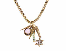 Golden Chain, Diamanté Star,Gold Spikes,Pink & Green Stone Charm Necklace(Ns20)