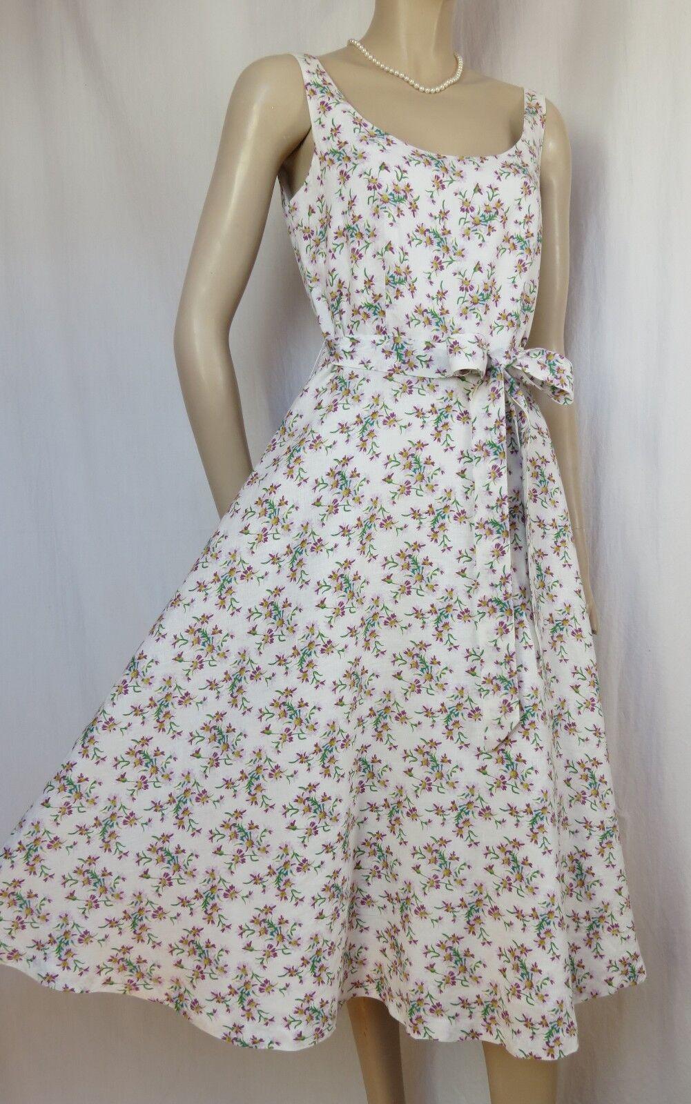 Laura Ashley Leinenkleid Sommerkleid 36 Leinen Hochzeit weiß lila grün Blaumen