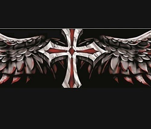 WINGED CROSS-LT56003 LETHAL THREAT DESIGNS WINGED CROSS WINDSHIELD VISOR DECAL