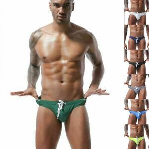 Swimsuits-Bikini-Men-Trunks-Drawstring-Swimwear-Swimming-Printed-G-string-Briefs