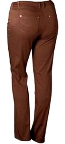 NUOVO Donna Comodo Tessuto Chinos Pantaloni Stretch Marrone Misure Grandi dimensioni lungo 112 56