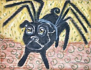 Along-Came-a-Pug-8x10-Dog-Pop-Vintage-Style-Art-Print-Black-Spider-Halloween
