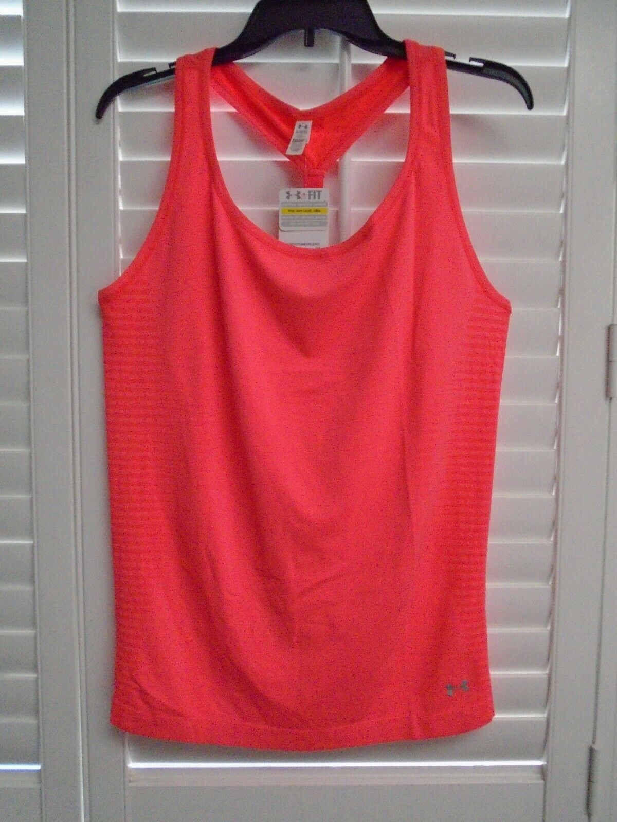 UNDER ARMOUR Heat Gear Bright Pink Fitted Athletic Racerback Tank Top XL NEW