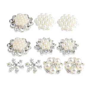 Image is loading 10-Mix-Rhinestone-Buttons-Flatback-Pearl-Embellishment-DIY- 76305b88463f