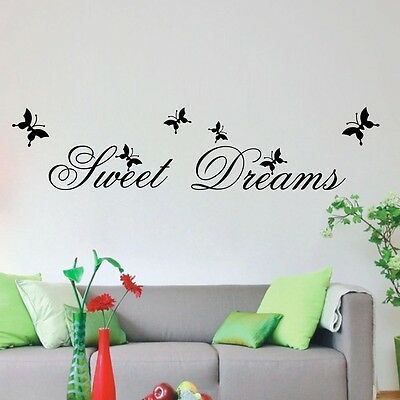 Removable Sweet Dream Butterfly Quotes Bedroom Home Wall Decor Stickers