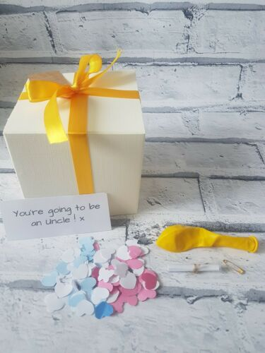 You/'re going to be an UNCLE personalised box, new baby balloon in a box