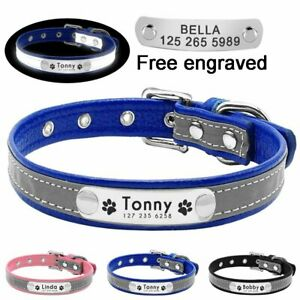 Reflective-Personalized-Dog-Collar-Leather-Custom-Engraved-Name-Small-Medium-Dog