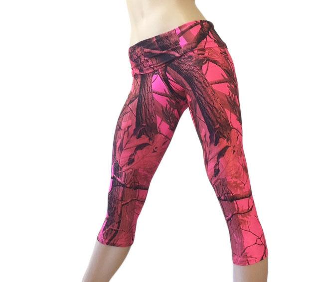 Pink Camo Yoga Pants Realtree Camouflage Capri Workout Lounge Handmade USA