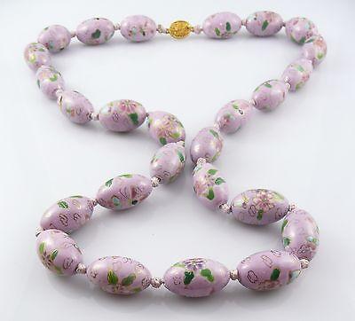 BIG Vintage Handmade Chinese Cloisonne Lavender Enamel Floral Beads NECKLACE