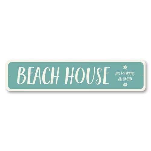No Worries Allowed for Beach Lovers Metal Sign Beach House Decor Beach House