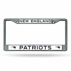 New England Patriots Chrome Metal Laser Cut License Plate