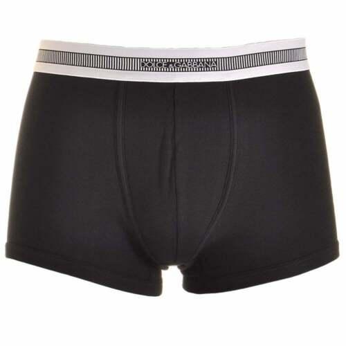 Black Dolce /& Gabbana Stretch Ribbed Cotton Regular Boxer