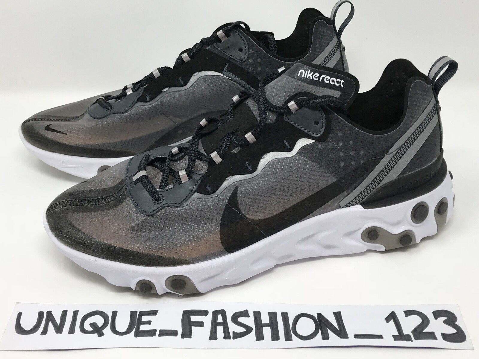 NIKE REACT ELEMENT 87 BLACK OG AQ1090-001 SAIL WHITE