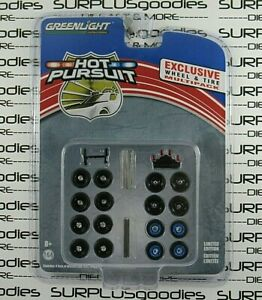 Greenlight-1-64-Hobby-Exclusive-HOT-PURSUIT-Police-Car-Wheels-amp-Tires-Multi-pack