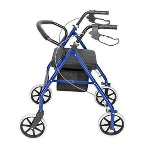 Medical-Rollator-Fold-Up-Rolling-Senior-Walker-with-Padded-Seat-Blue-US-STOCK