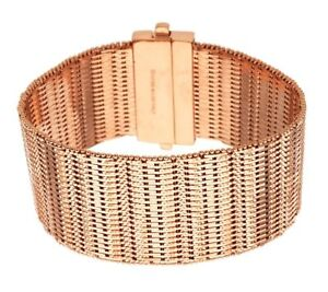 BRONZO-ITALIA-ROSE-BRONZE-LARGE-BOLD-DIAMOND-CUT-WIDE-RICCIO-8-034-BRACELET-QVC