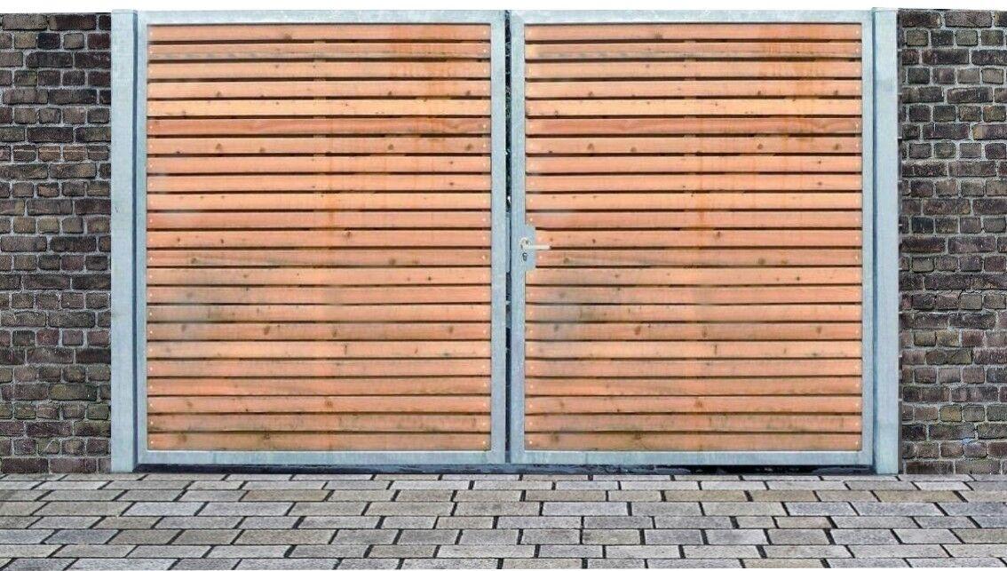 forma unica Einfahrtstor QS CANCELLO ZINCATO con pali & LEGNO LEGNO LEGNO riempimento 2-flügelig 200cm x 160cm  a prezzi accessibili