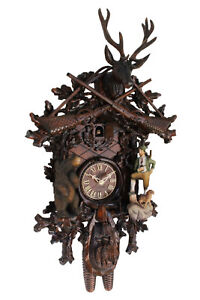 cuckoo-clock-german-black-forest-8-day-original-bear-hunter-wood-painted-new
