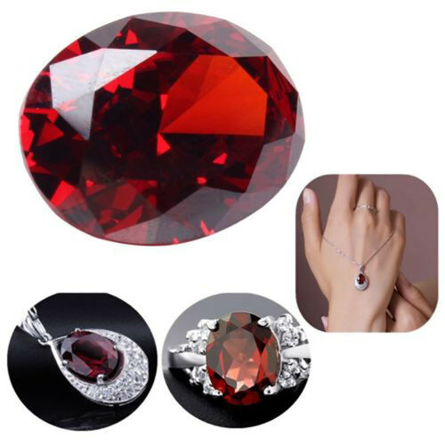 10pc 12*16mm Oval AAAAA Natural VVS Heated Glass Filling Pomegranate Red Gestone