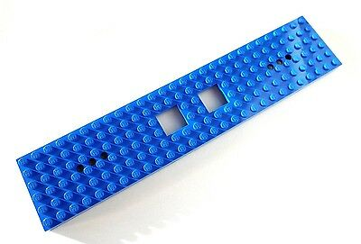 LEGO Blue Train Base 6 x 28 with 2 Square Cutouts 3 Round Holes Each End 60052
